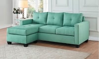 Brand new! Gorgeous Reversible sectional sofa with chaise. Can be set as Left or right chaise. Teal Phoenix, 85008