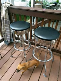 two black leather padded bar stools Alexandria, 22310
