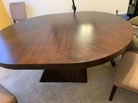 Cherrywood dining room table with 6 beige chairs Waldorf