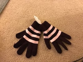 Brown and pink gloves