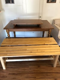 Ethan Allen Dining Table with Leaf and Benches  San Diego