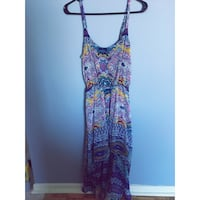 Blue, purple, and pink high low dress, size small