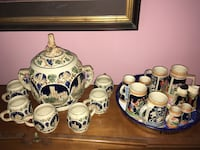Gerz German Punch and cup set and several various steins and shakers. Rembert, 29128