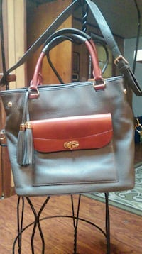 red and black leather tote bag Lacombe, 70445