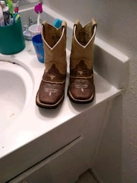 pair of brown leather square-toe cowboy boots Houston, 77081