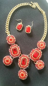 red gemstone necklace and hook earrings Downey, 90242