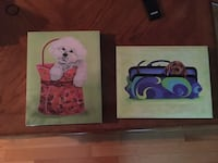 Dachshund and Bichon Frise in bags paintings