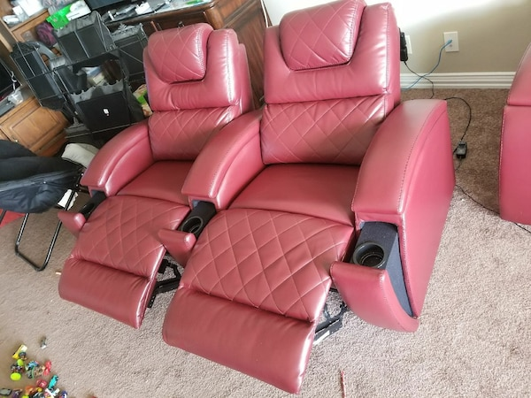 red leather recliner sofa chair