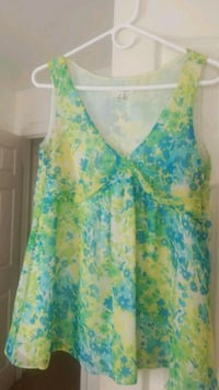 women's blue and green floral sleeveless top Adelphi, 20783