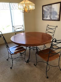 Used Dining Room Set Wrought Iron And Wood For Sale In