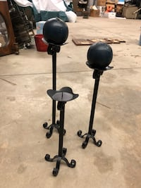 3 black metal candle holders  Mooresville, 28117