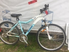 blue and white Raleigh hardtail bicycle