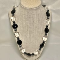 Genuine Black Onyx Hematite Quartz Crystal Necklace with Sterling Silver Clasp Ashburn, 20147