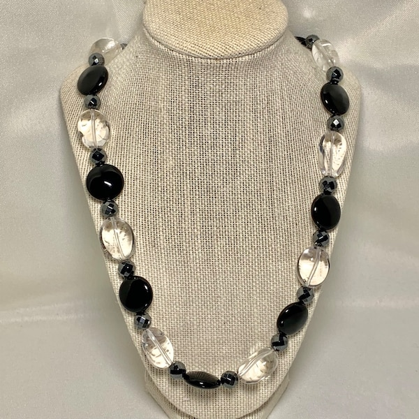 Genuine Black Onyx Hematite Quartz Crystal Necklace with Sterling Silver Clasp
