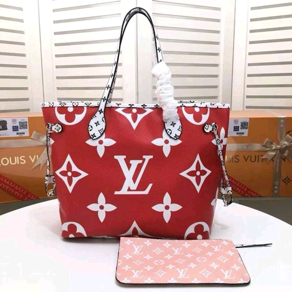 LV red and white floral leather crossbody bag