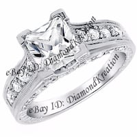 2.5ct Princess Antique Style Wedding Engagement Anniversary Bridal Sterling Silver Ring Ottawa