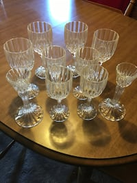 Crystal wine glasses & candlestick holders