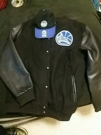 GS black and blue letterman jacket with dad hat Manassas
