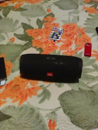 black JBL portable speaker null