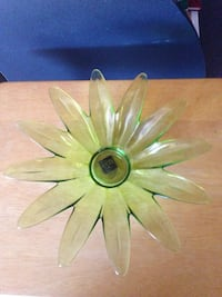 Green Leaf Glass Plate or Candle Plate