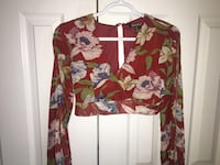 brown, green, and blue floral v-neck long-sleeved crop shirt Vaughan, L4H 3B3
