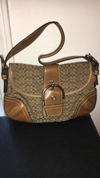 Brown and grey Coach camouflage leather shoulder bag