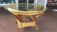 """Ratan & cane with premium glass table 48"""" diameter price firm New Castle, 19720"""