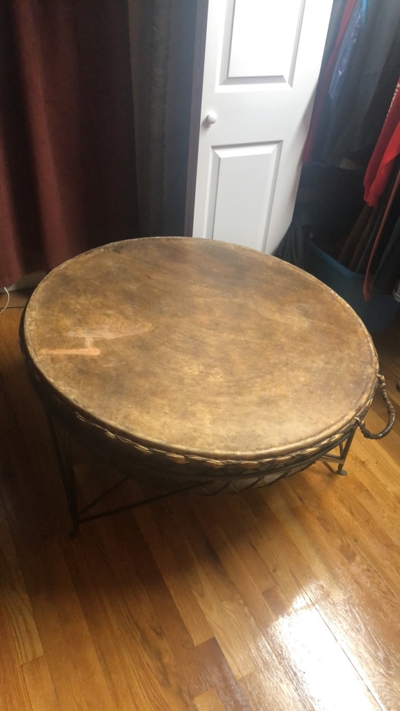 Attirant Stunning Large African Kettle Steel Drum / Coffee Table + Original Metal  Frame Stand Drum Circle