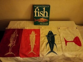 SUN DOT FISHING FLAGS, ENCYCLOPEDIA OF FISH COOKERY, (HOLIDAY GIFT?)