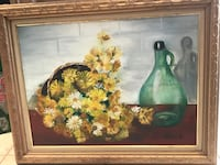 Brown wooden framed painting of flowers in vase West Long Branch, 07764