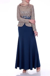 women's blue and black long-sleeved dress London, N6E