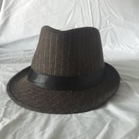 Brown with White Pinstripe Fedora 546 km