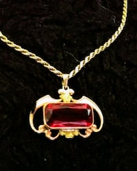 Ruby, And Gold Pendant vintage antique estate jewelry handmade