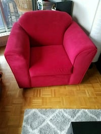 Red fabric sofa chair with throw pillow Mississauga, L5A 3Y4