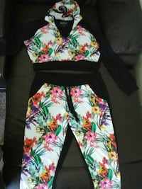 multicolored floral collared jacket and pants