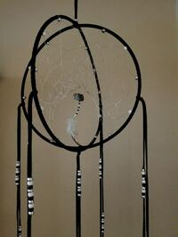 Double hoop dreamcatcher black white and silver 14 Calgary, T2E 7B5
