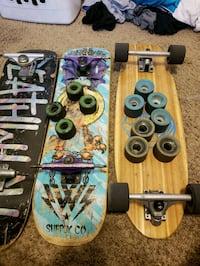 Skateboard and cruiser items all together