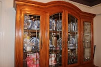 brown wooden framed glass display cabinet Vancouver, V5W 2G9