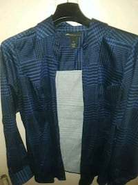LANE BRYANT BLUE AND BLACK BUTTON DOWN BLOUSE  New York, 10028