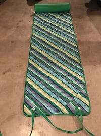 Roll-Up Beach Mat with Pillow Blue Green stripes Strap Polyester