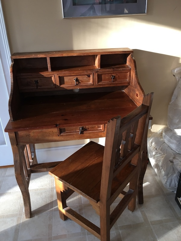 Used Old Hand Made In Mexico Solid Wood Desk And Chair For Ming Letgo