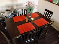 Rectangular brown wooden table with six chairs dining set Phoenix, 85024