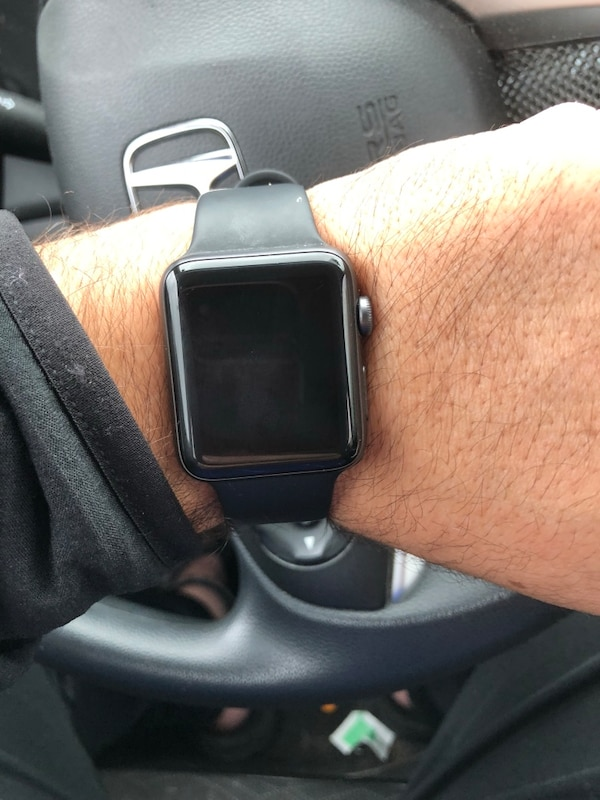 silver aluminum case Apple Watch with black sport band
