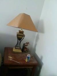 brown wooden table lamp with white lampshade Greensboro, 27406
