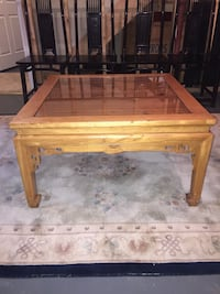 "Chinese altar table with glass top - 35x35x20"" Hamilton, 20158"
