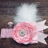 Pink Feathered Photography Headband London, N5Z 3L8