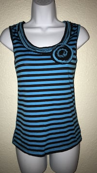 Small women's black and blue striped floral tank top
