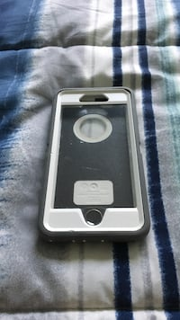 silver iPhone 5s with black case