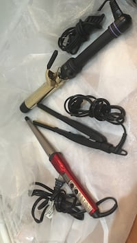 two electric hair curler and hair flat iron