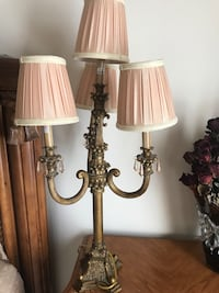 gold base table lamp with 4-head lampshades Chantilly, 20151